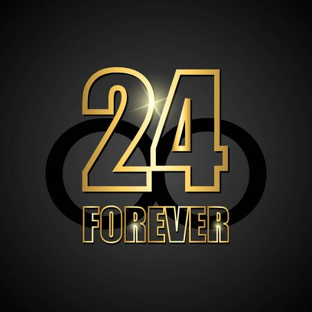 Black vector background with golden number 24. Vector background 24 black forever. basketball. Vector illustration. Ilustração