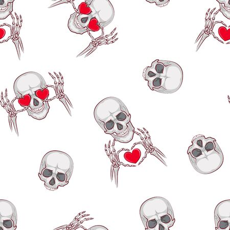 simple seamless pattern. cute picture of scho skeleton for valentines day. Vector illustration on a white background. Valentine's Day