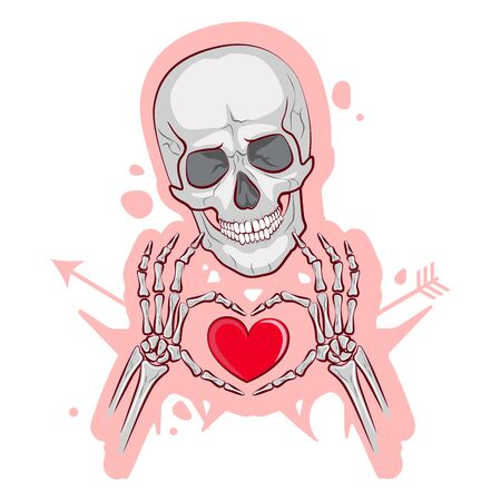 Cute skeleton on a white background. Vector illustration. Valentine's Day Image Ilustração
