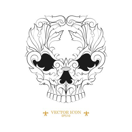 Skull tattoo vector icon. vector illustration of a silhouette of a skull. black tattoo