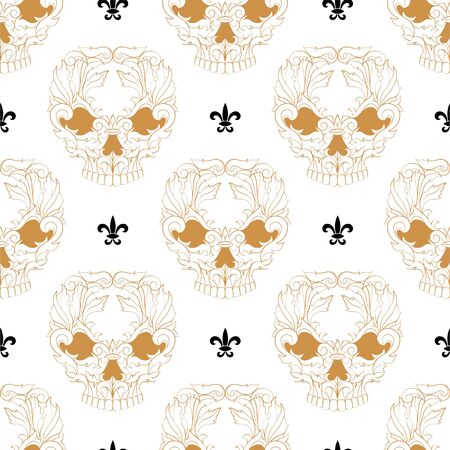 Seamless pattern with golden skulls tattoos. simple skull pattern on a white background. vector Ilustração