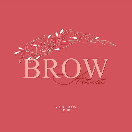 Brow logo for beauty studio with hand drawing eyebrow. Eyebrow Vector Illustration Isolated Ilustração