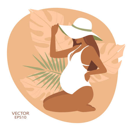 vector illustration depicting a pregnant girl. pregnancy. against the background of tropical plants. flat. wind silhouette pregnant Ilustração
