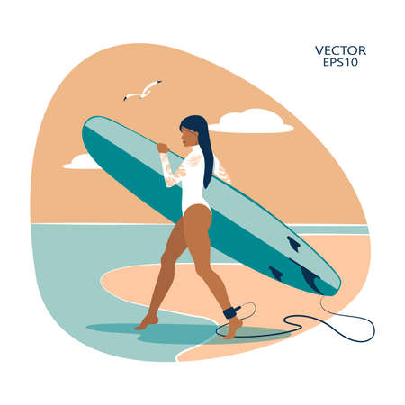 Vector illustration depicting a surfing girl. Surfing. vector flat illustration. summer time