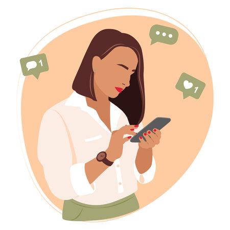 Girl with phone, vector simple flat illustration .Woman uses a smartphone.Vector illustration in flat style. Ilustração