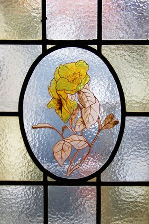 vitrage: Stained-glass window with yellow flower
