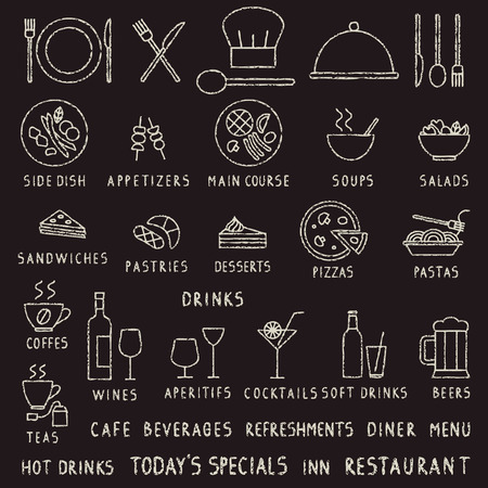 Hand getrokken krijt beroerte restaurant overzicht vector iconen op blackboard Vector Illustratie