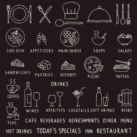 Iconos de vector de contorno de restaurante de trazo de tiza dibujados a mano en la pizarra Ilustración de vector