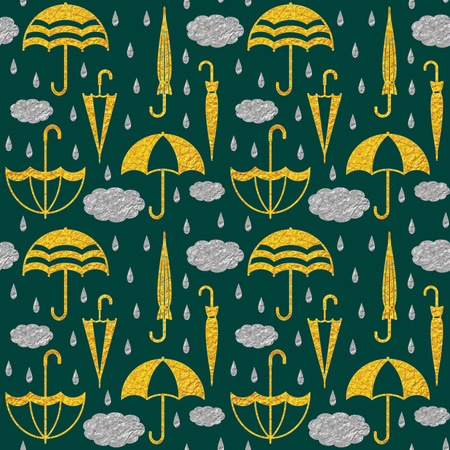 Golden umbrellas and silver clouds and raindrops on dark green  background vector seamless pattern