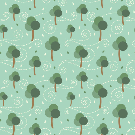 Trees and the storm retro vector seamless pattern background
