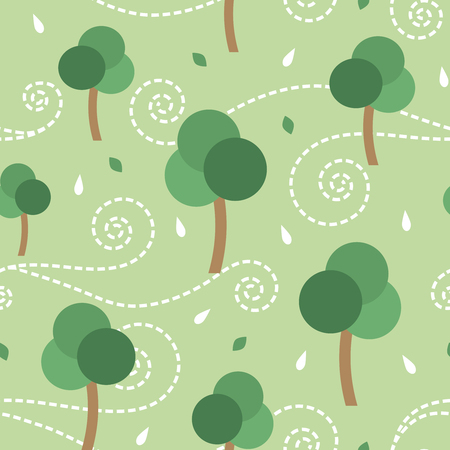 Trees and the storm vector seamless pattern background