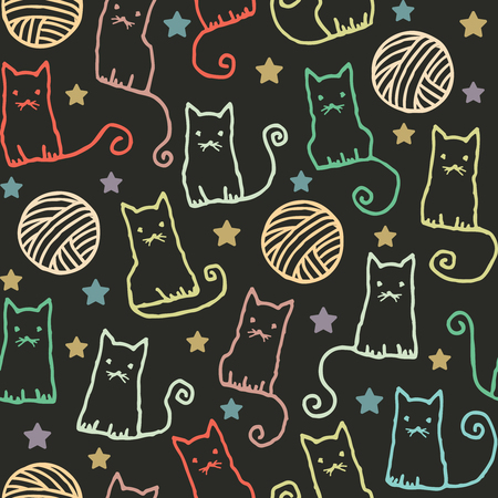 Hand drawn vector seamless pattern with cats and wool claws 2