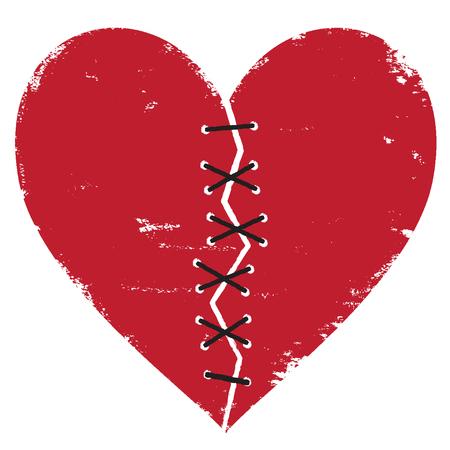 Broken heart with thread stitches vector illustration
