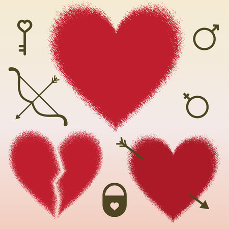 Hearts and love symbols vector illustration