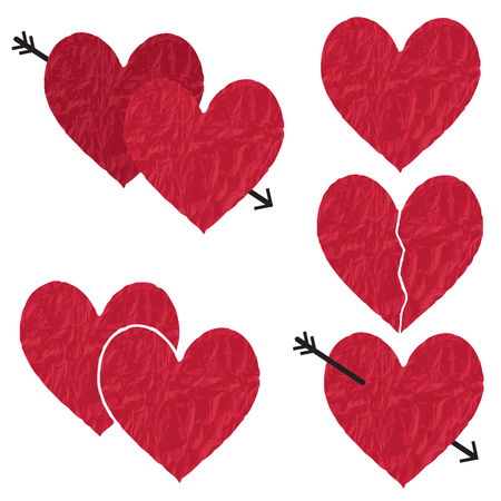 Red crumpled vector paper hearts  Archivio Fotografico - 102927735