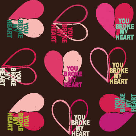 Retro grunge vector seamless pattern background with broken hearts 2