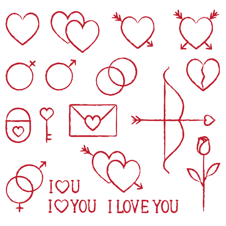 Romantic love vector hand drawn outline icons set 1