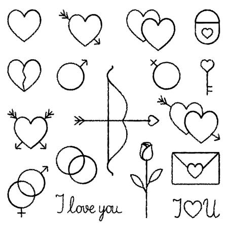 Romantic love vector hand drawn outline icons set 2 Çizim