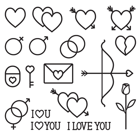 Romantic love vector outline icons set