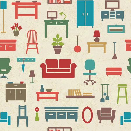 Vintage vector seamless pattern background with home furniture icons Ilustracja