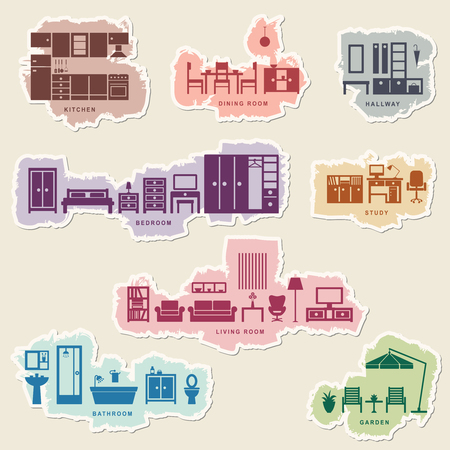 Furniture icons with tattered edge 1