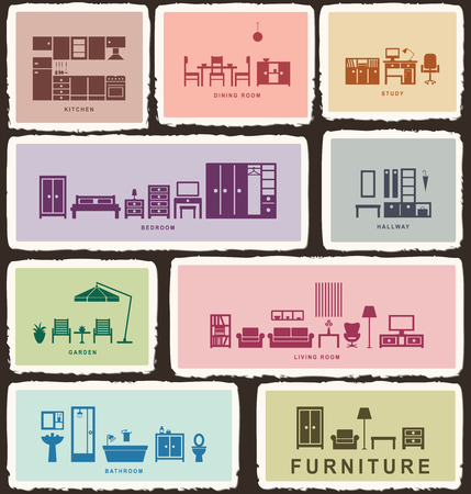 Furniture icons with tattered edge 2  Ilustrace