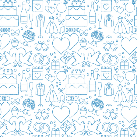 Artistic wedding related vector seamless pattern background with hand drawn elements