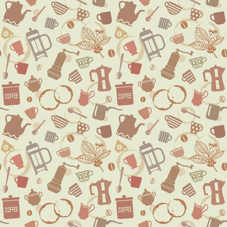 Seamless pattern background with coffee related elements