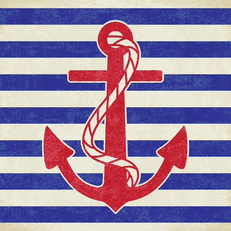 Vintage anchor on white and blue sailor stripes Ilustração