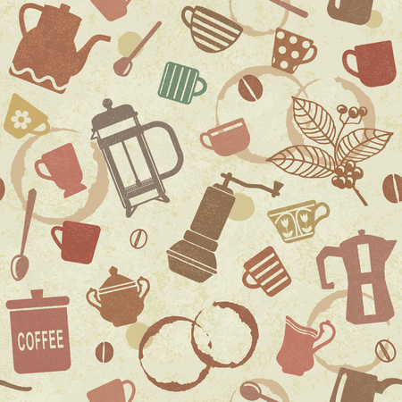 Vintage seamless pattern background with coffee related elements 2