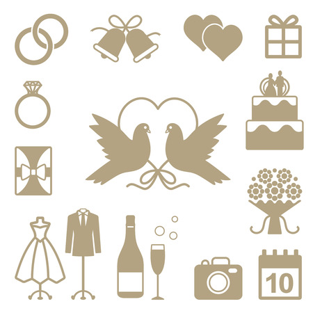 Wedding related vector silhouette icons set