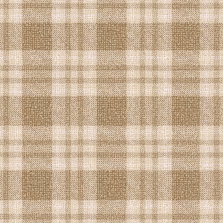 Beige and brown plaid textured fabric vector pattern background