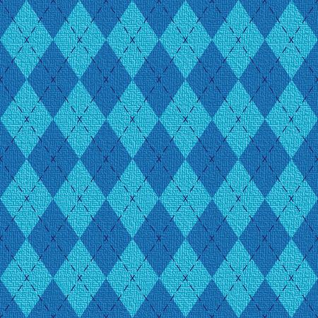 Blue textured argyle pattern inspired vector backround Illustration