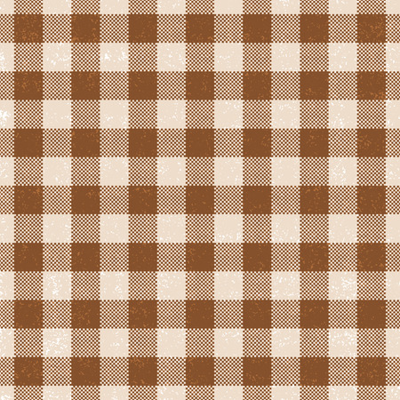 Brown scratched gingham vector pattern background