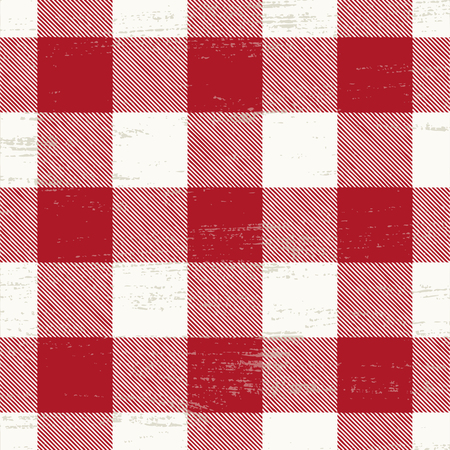 Grunge red and white plaid background