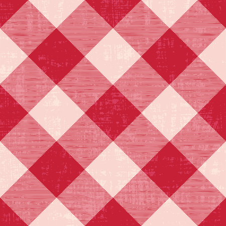 Scratched gingham inspired diagonal vector pattern background Illustration