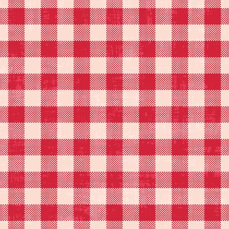 Scratched gingham vector pattern background Illustration
