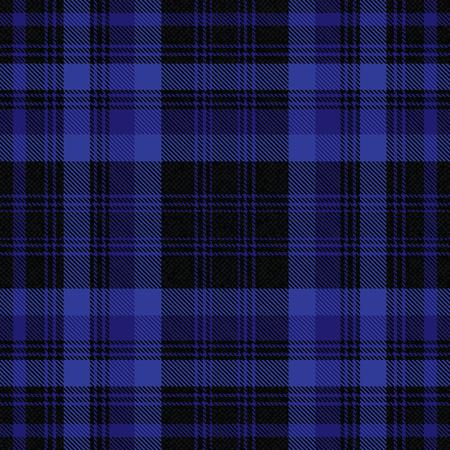 Tartan ispirato sfondo vettoriale nero e blu Vettoriali