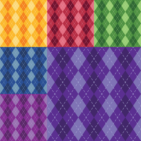 Vector argyle seamless pattern in six different colors