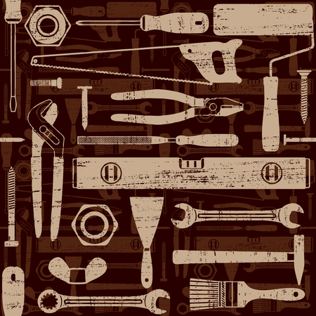 Scratched seamless pattern with various hand tools 3  Ilustrace
