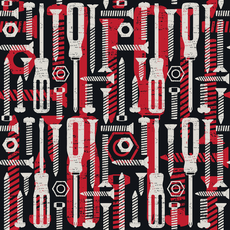 Scratched seamless pattern with screws and screwdrivers 2  Ilustrace