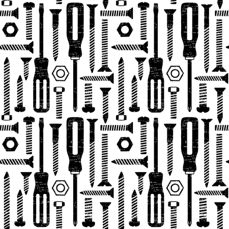 Scratched seamless pattern with screws and screwdrivers 1  Ilustrace