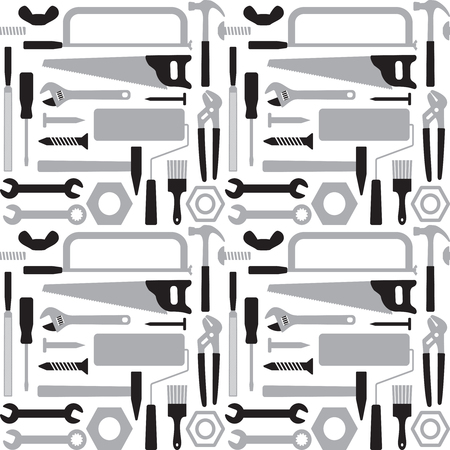 Hand tools vector seamless pattern background 5