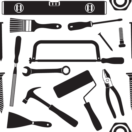 Hand tools vector seamless pattern background 4  Ilustrace