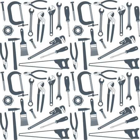 Hand tools vector seamless pattern background 2  Ilustrace