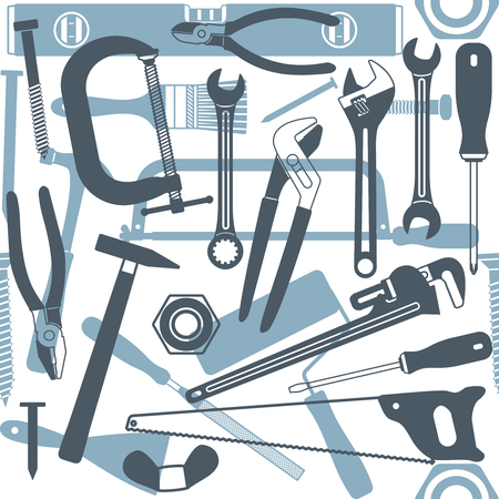 Hand tools vector seamless pattern background 1 Illustration