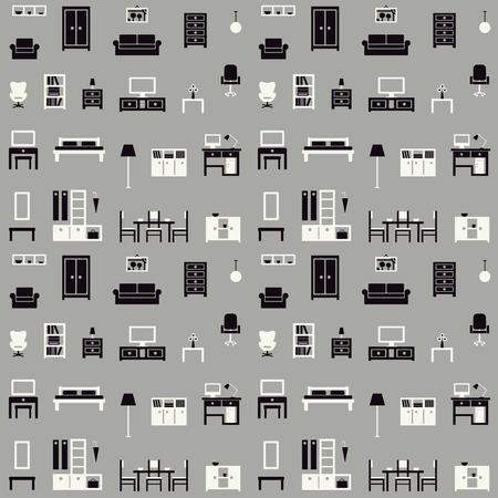 Furniture vector seamless pattern 1  Ilustrace