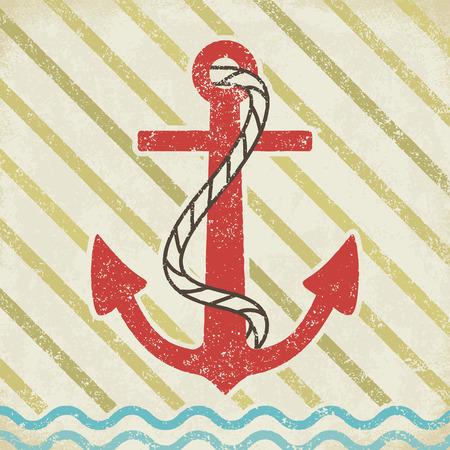 Anchor on grunge background vintage vector illustration 3