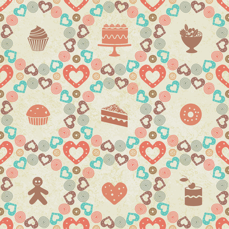 Vintage sweets themed seamless pattern background
