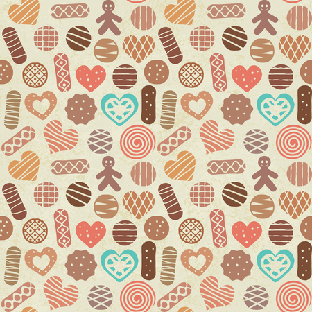 Vintage sweets and cookies seamless pattern background